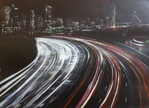 Rachael King Painting of a Cityscape at night.