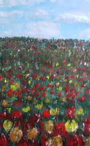 Rachael King Painting of flowers in a field.