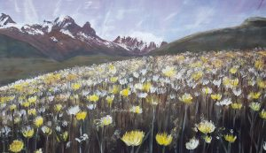 Rachael King Painting of mountains and flowers.
